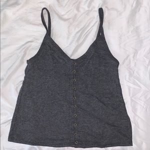 American eagle Dark gray button up tank top